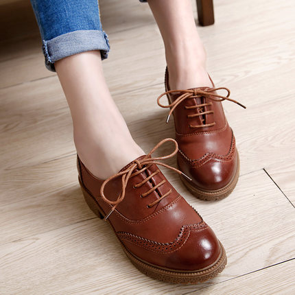 High quality hot sale 2016 British style women casual lace up autumn spring black color zapatos mujer oxfords shoes flats<br><br>Aliexpress