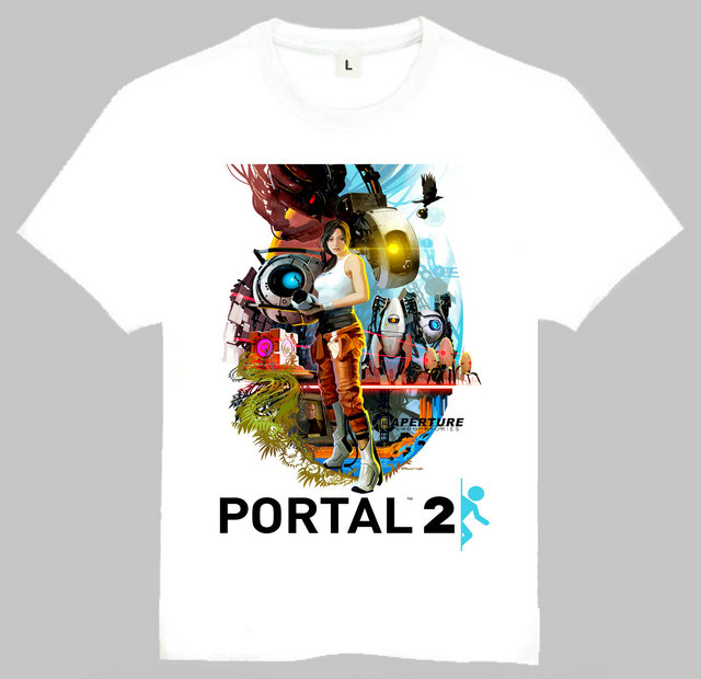 Free Shipping New Arrival Game Portal 2 Print Tshirt Short Sleeve Cotton Portal 2 Top Tees For Men(China (Mainland))