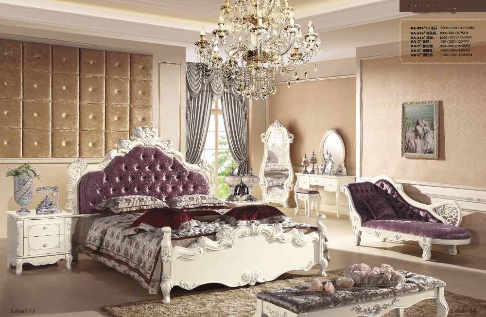 Luxury Master Bedroom Furniture Sets With Bed Royal Chair Bedstand Dressing Table And Chair