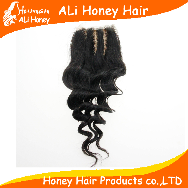 Silk Base Closure 6A Human Virgin Brazilian Hair 4 x4 Bleached Knots 3 &amp;Middle Part Silk Top Lace Closures Loose Wave Free<br><br>Aliexpress