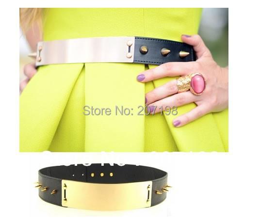 Fashion women spike Gold Metal plate Metallic Mirror Obi waist leather Belt CorsetОдежда и ак�е��уары<br><br><br>Aliexpress