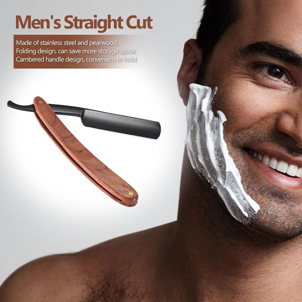 Hot Sale Men's Razor Antique Straight Cut Stainless Steel Folding Razor Retro Barber Beard Remover Shaving Pearwood Handle(China (Mainland))