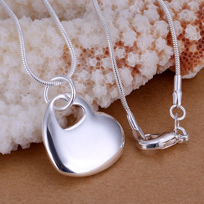 Gorgeous silver plated pendant necklace Heart Center collier wedding jewelry - Qing CO.,LTD store