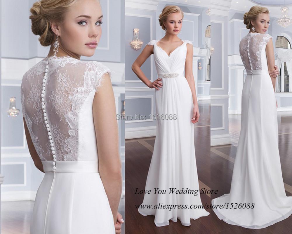 Pure White Cheap Wedding Dress Lace Beach Bridal Gowns Cap