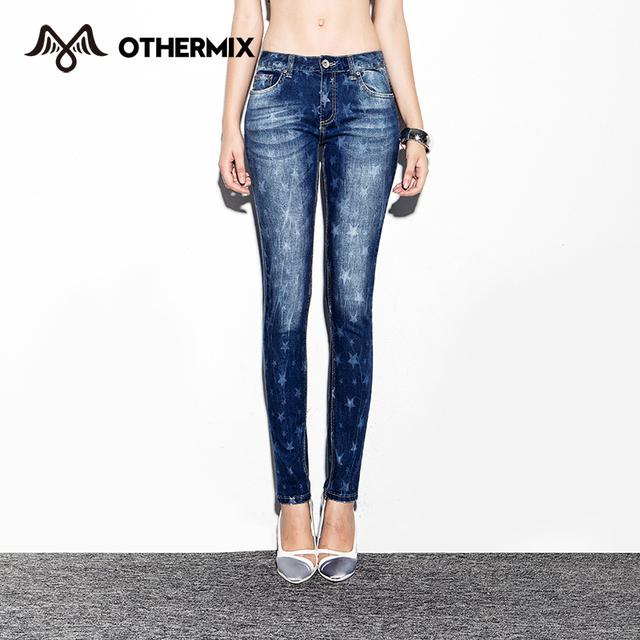 Othermix 2015 новых мужчин джинсы звезды печать тонкий ноги джинсы светлого цвета ...