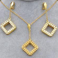 Bijoux ensoleillés ensembles de bijoux à la mode pour les femmes collier boucles d'oreilles pendentif carré Dubai ensembles de bijoux pour fête de mariage anniversaire(China)