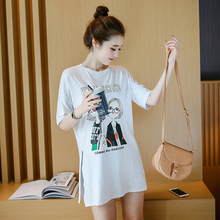 Maternity personality good quality short sleeve Cartoon cotton t-shirt side split cotton tunic pregnant women long loose tees(China (Mainland))