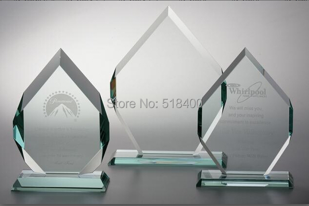 Noble high quality best selling jade glass diamond plaque jade glass award trophy for souvenir gifts(China (Mainland))