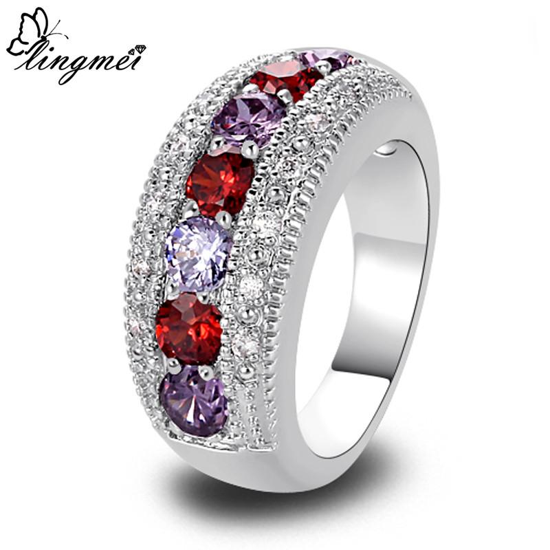 lingmei Alluring Garnet Amethyst Tourmaline Silver Ring Size 6 7 8 9 10 11 12 13 Romantic Love Style Women Jewelry Wholesale(China (Mainland))