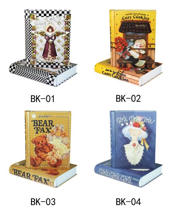 HOT Cute Metal Storage Box Trinket Gift Tin Case Book Shape Decor Container organizer(China (Mainland))