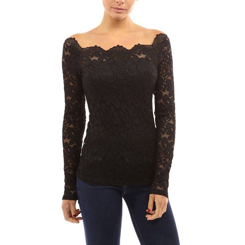 New Fashion 2017 Spring Summer Sexy Slim Basic Off Shoulder Lace Crochet Slash Neck Women Blouse Shirt Blusas Tops Plus for Gift