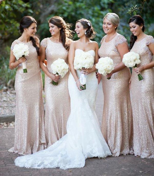 2015 new christmas bridesmaid dresses gold sequins lace cap sleeve