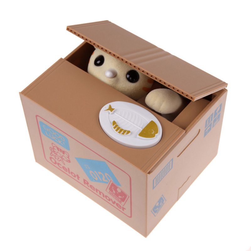 Coin bank automated savings cute animal cat piggy bank for Home money box