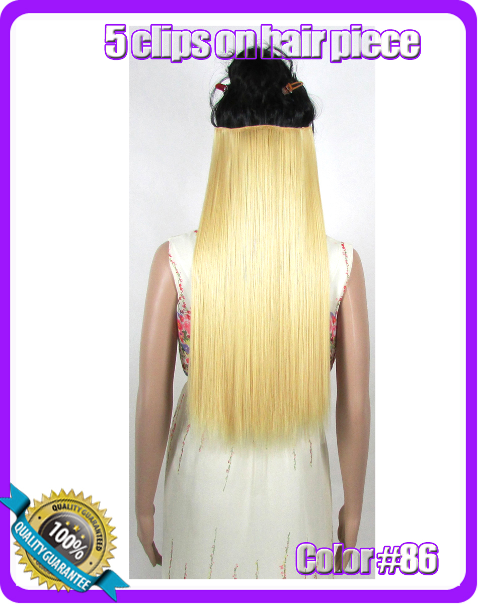 """24""""(60cm) 120g straiht clip in synthetic hair extensions hairpiece hair pieces accessories color #86 Golden(China (Mainland))"""