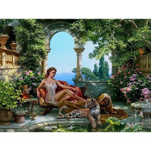 frameless tiger and sex girls DIY painting by numbers kits acrylic painting on canvas hand painted home decor picture artwork(China (Mainland))