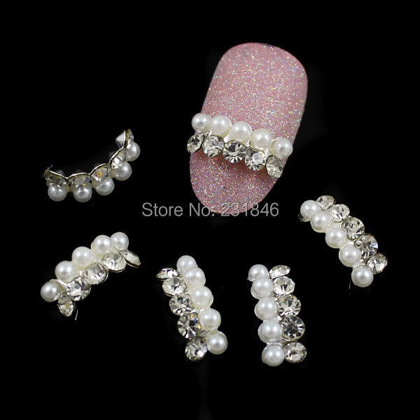 311*5mm White Alloy Faux Pearl Rhinestones Beads Salon 3D Nail Art Tips Craft DIY Design Accessories Phone Cover Decoration - SuQing Zhang's store