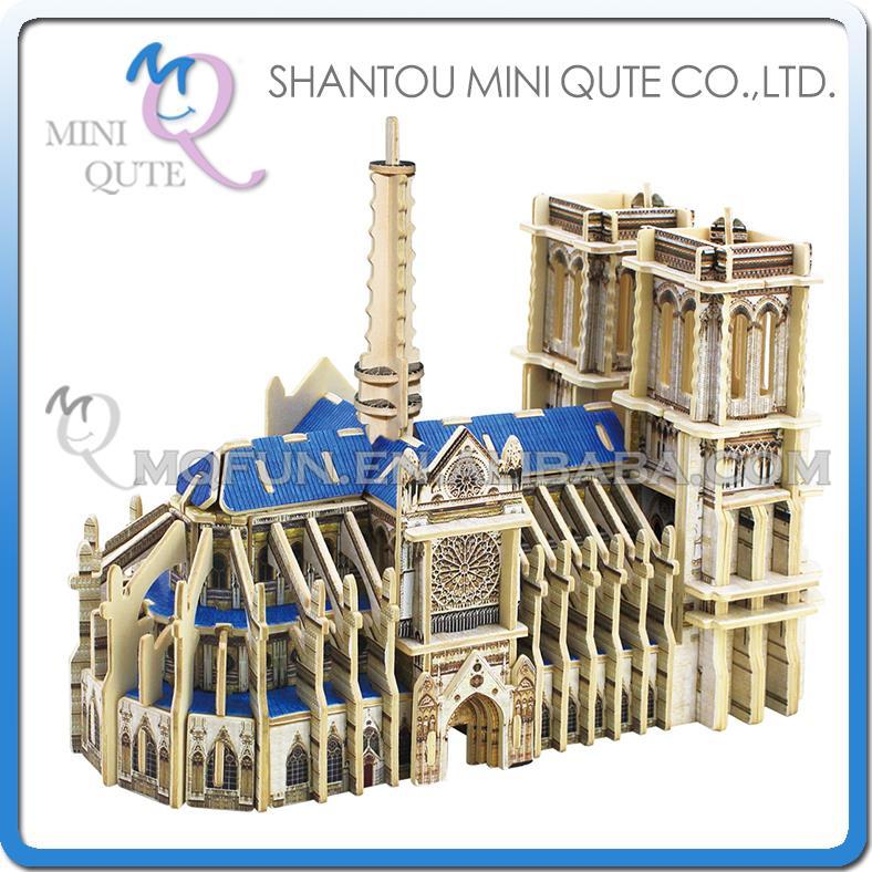 Mini qute 3d puzzle en bois notre dame de paris for Architecture celebre