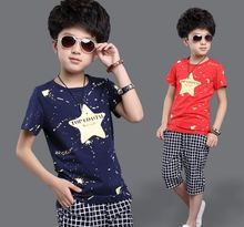 2016 new summer style fashion 100% Cotton print star Baby boy t-shirt with half pants boy sport clothes suits Kids clothing set(China (Mainland))