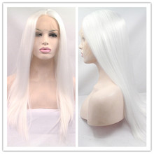 Free Shipping Top Quality Heat Resistant Synthetic Celebrity Wig white silk straight Synthetic lace front wig For White Woman