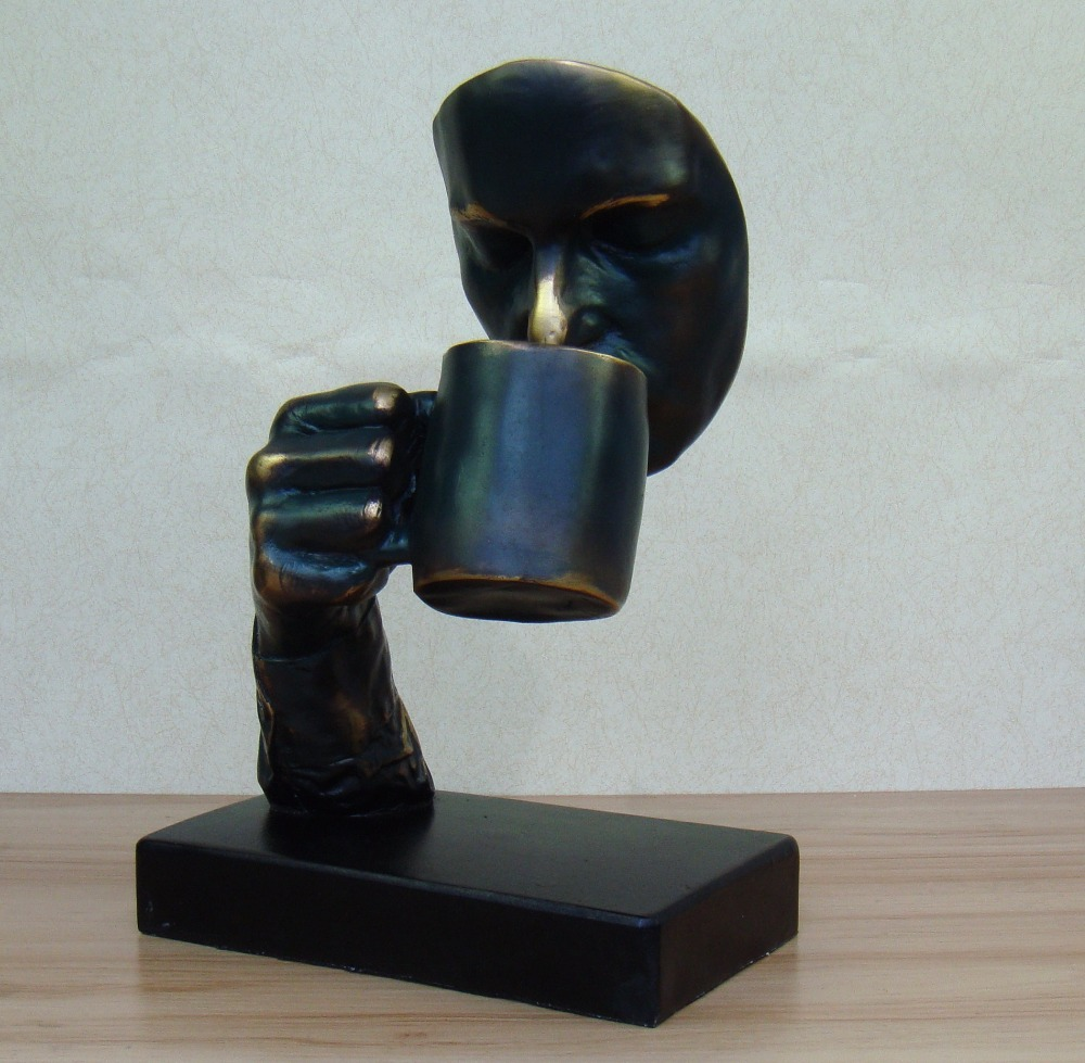 Drinking man sculpture abstractive resin male deliberation