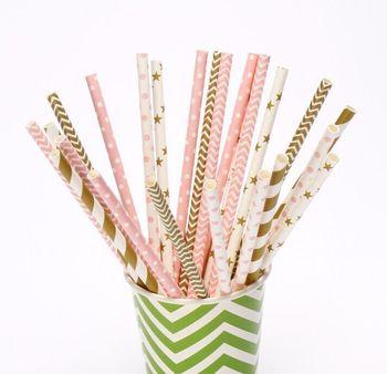 Drinking Paper Straws Circle Striped Chevron Polka Dot Heart Solid Party Favor Craft Artstraws Bulk