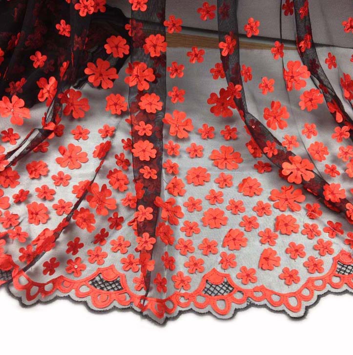 Mesh Satin Flower Embroidery Lace Fabric with Sequins for Dress Skirt Wedding Party Gauze Patchwork Sewing Material Cloth Tecido(China (Mainland))