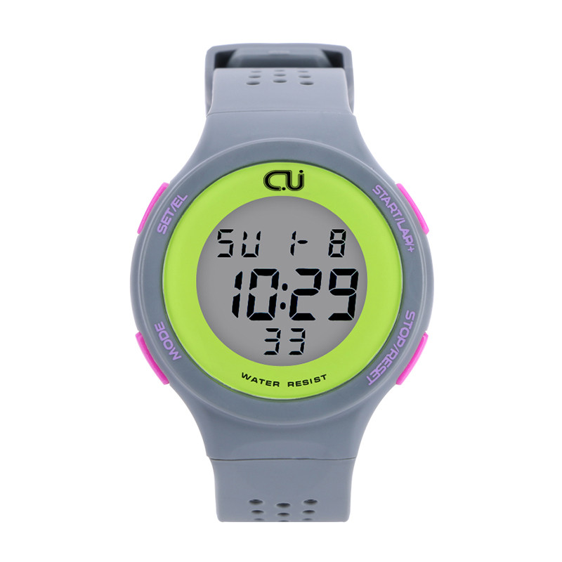 CU 2017 new LED multifunction ladies casual men's sports watch 30 meters waterproof watch male and female students