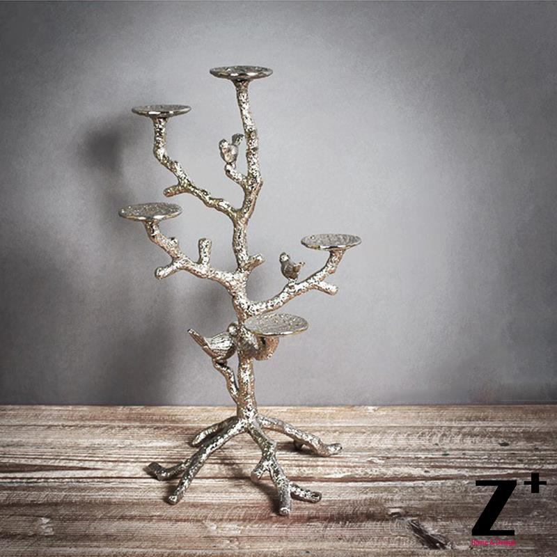 Vintage Candle Holder Metal made Electroplate branch tree with bird shape classical retro Candlestick(China (Mainland))