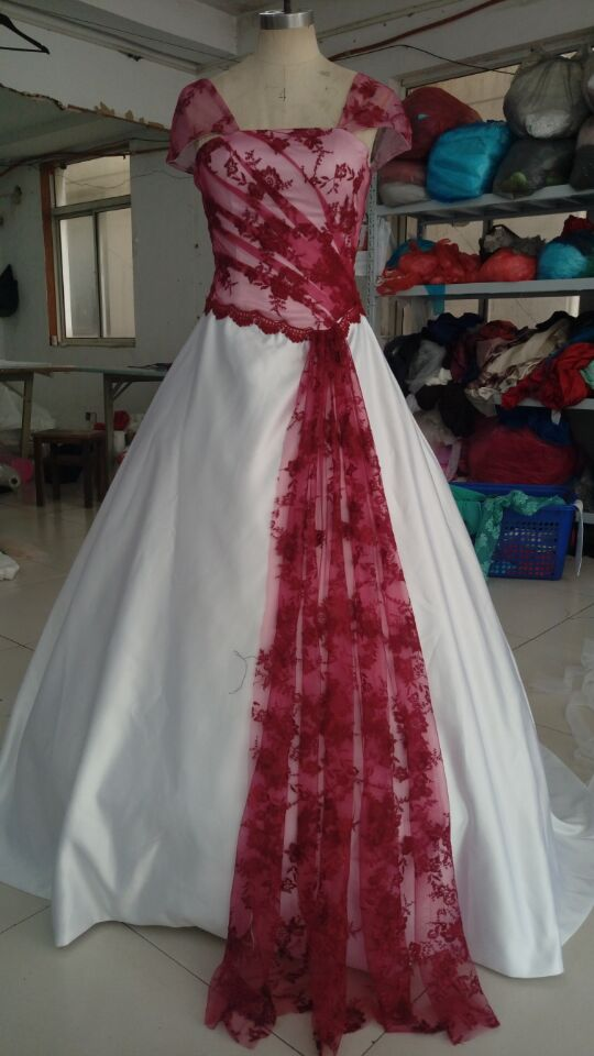 Daw1287 free shipping hot sale ball gown wedding gown red for Red and black wedding dresses for sale