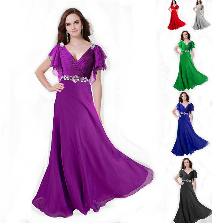 Zj0097 v neck with sleeve red purple green silver coral for Purple maxi dresses for weddings