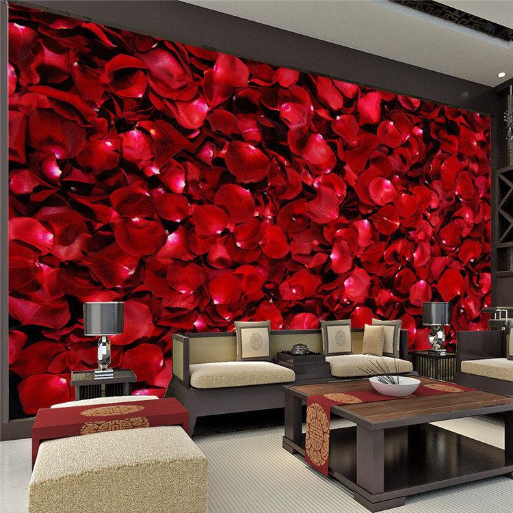 Romantic rose petals wall mural 3d photo wallpaper elegant for 3d rose wallpaper for bedroom