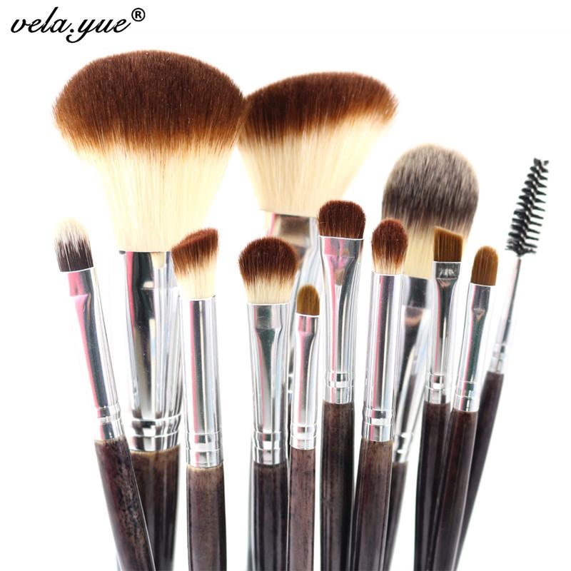 Professional Makeup Brush Set 12pcs High Quality Makeup Tools Kit Violet