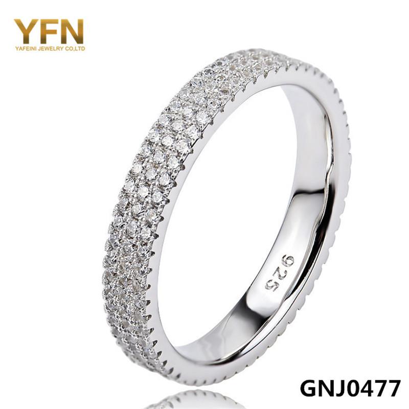GNJ0477 Genuine 925 Sterling Silver jewelry Wedding Band Rings Women Jewellery 3-Row Full Diamond Ring Party - Elegant Jewelry Co.,Ltd store