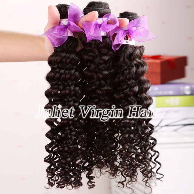 Free Shipping 8A Unprocessed Malaysian Virgin Hair Curly Human Hair Extensions 3pcs Lot Mix Length Juliet Hair Products