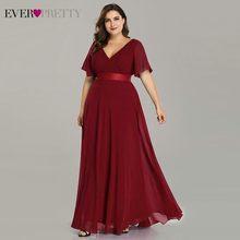 בתוספת גודל ערב שמלות אי פעם די EP09890 אלגנטי V-צוואר ראפלס שיפון פורמליות ערב שמלת מסיבת שמלת חלוק דה Soiree 2019(China)