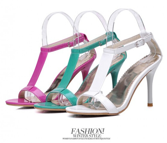 Europe runway looks catwalk high-heeled shoes sandals patent leather star candy color fine high heels - Online Store 938148 store