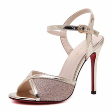 Buy 2017 Sexy Summer Bling Ankle Strap Sandals Golden Women Peep Toe Sandals Lady Casual Shoes Fashion Thin Heel High Heels Sandals for $34.45 in AliExpress store