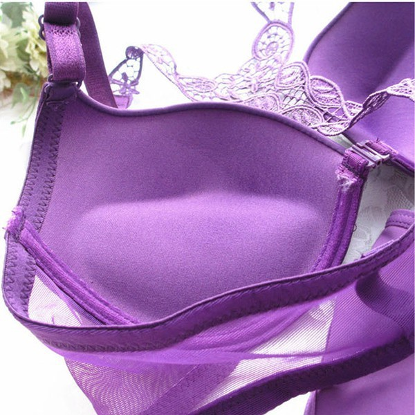 Women Sexy Bra Front Closure  Lace  Straps Back Seamless Push Up Lingerie Underwear