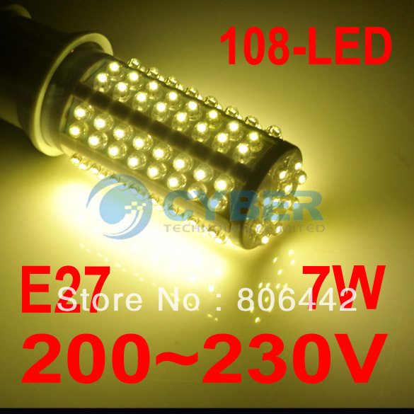 7W E27 Corn Light 108-LED Bulb Lamp Warm White 200~230V Energy Saving