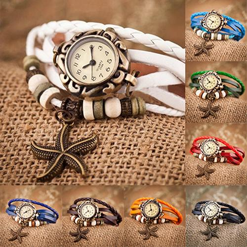 Гаджет  Woman Girl Vintage Leather Bracelet Starfish Decoration Quartz Wrist Watch  None Часы