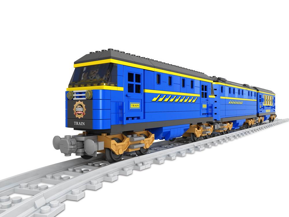 Transportation Building Block Sets Compatible lego DF001 train 3D Construction Bricks Educational Hobbies Toys Kids
