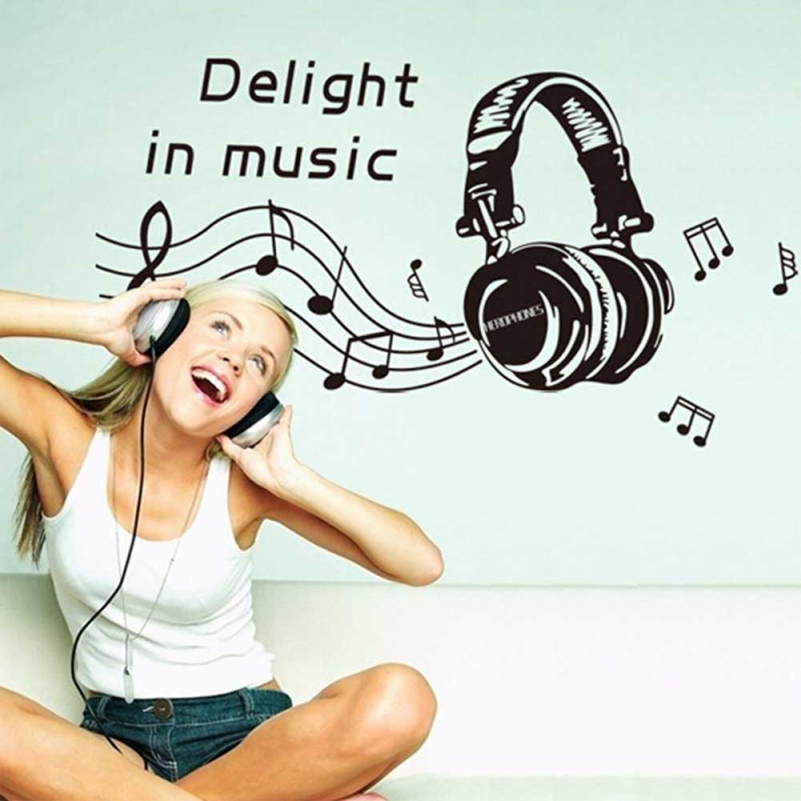 MUSIC NOTES Headset Wall Sticker Removable Home Mural Decal Vinyl Art Wall Decor(China (Mainland))