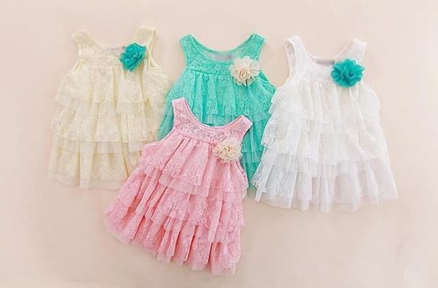 Детские девочки-младенцы кружево платья дети одежда для осень - лето дети принцесса цветок пачка платье 4 цвета торт платье