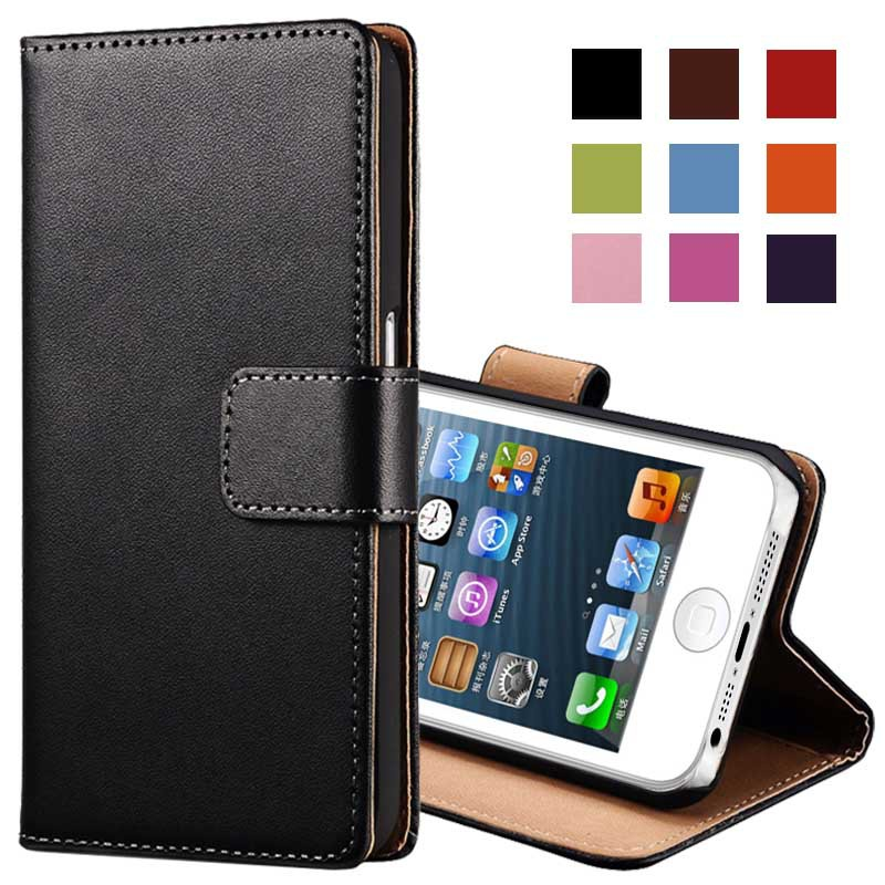 Genuine Leather Wallet With Stand Case for iPhone 5 5S Phone Bag with Card Holder Flip Cover(China (Mainland))