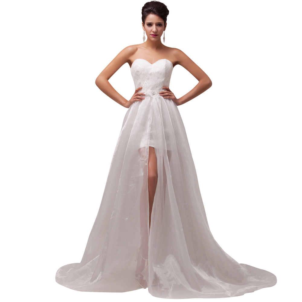Buy beach style stock strapless empire for Wedding dress for a short bride