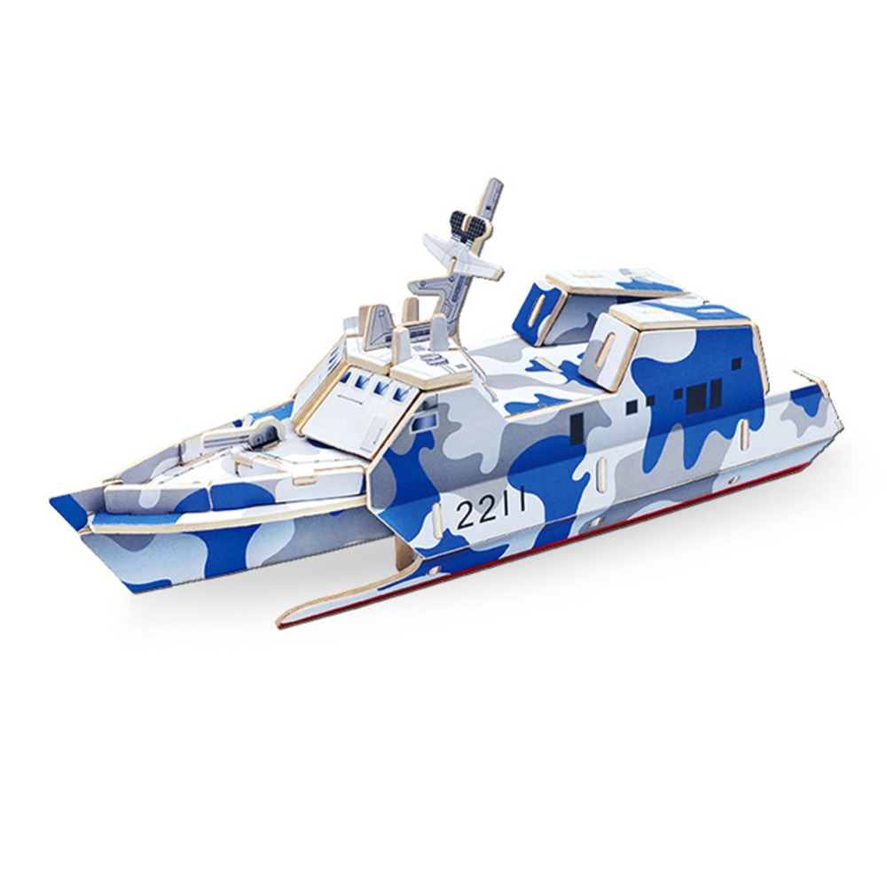 New Cool 3D wooden puzzle children's educational early toy military large ship model FCI#(China (Mainland))