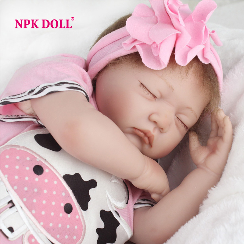 22 Inch 55cm Sleeping Silicone Baby Doll Realistic Baby Toy Gift For Girls Play House Real Toys(China (Mainland))