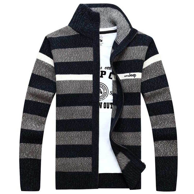 2015 New Casual Fashion Thicken Striped Cashmere Zipper Cardigan Stand Collar Sweaters Men Plus Size - YiDingSen clothing store