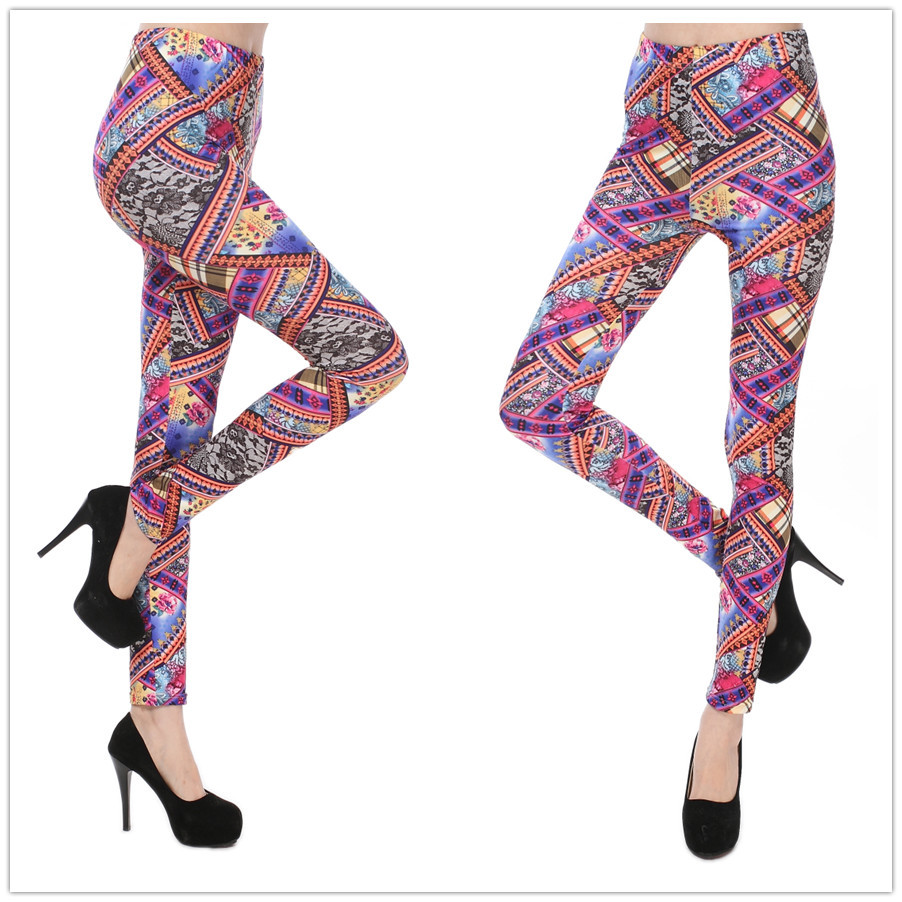 Highly Stretched Lace Rose Print Leggings Sport Printed Leggins Skinny Ladies Legging Women's Clothing - DOKI store