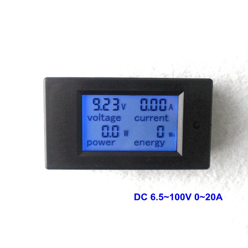 DC Voltmeter Ammeter DC 6.5~100V 0~20A Digital LCD Display Voltage Detector Current Tester Battery Indicator Power Energy Meter(China (Mainland))